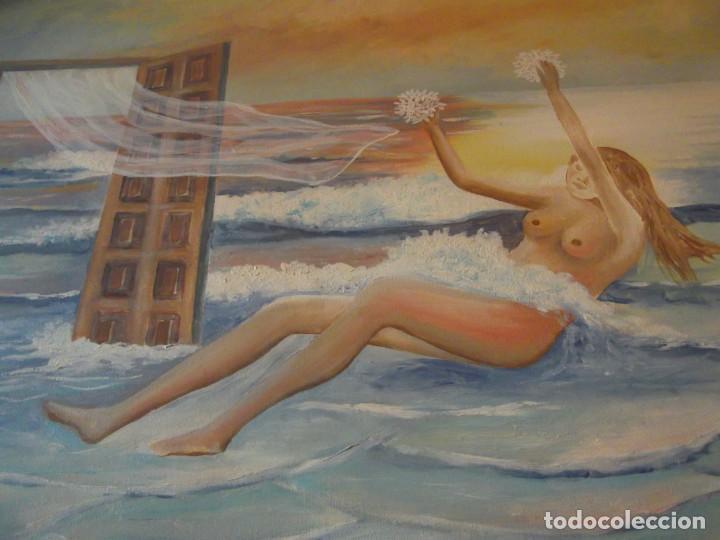 Arte: Oleo Colección privada , arte moderno sobre lienzo del Artista M. Bueno 72x 54 siglo pasado - Foto 4 - 257655410