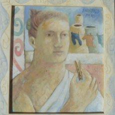 Arte: CUADRO DE PINTURA DE LA ARTISTA DE ALICANTE ESPERANZA ASENSI DE LA SERIE ARCAICA. Lote 257735420