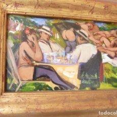 Arte: CUADRO DE PINTURA, ÓLEO SOBRE TABLA DE PHILIPPE MONTEAGUDO, TITULADO LA MERIENDA. Lote 257736850