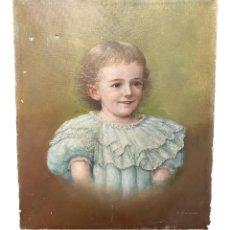 Arte: ANTIGUO RETRATO, ÓLEO SOBRE LIENZO DE UNA NIÑA. FIRMADO: HENRI BUISSON. 55X46. PIEZA IMPORTANTE.1893. Lote 257817520