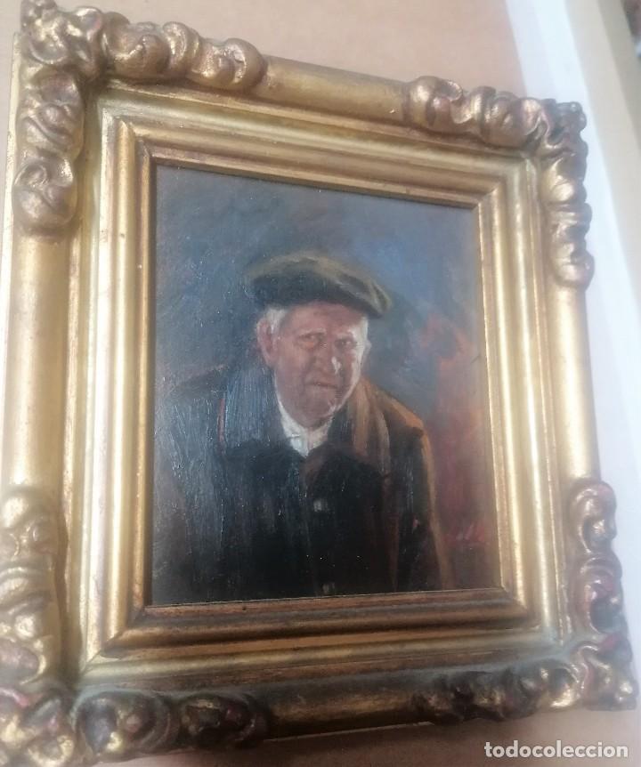 Arte: dos retratos al oleo sobre tabla. Jesús Gallego Rodríguez. Valladolid. Enmarcados. - Foto 2 - 257857485