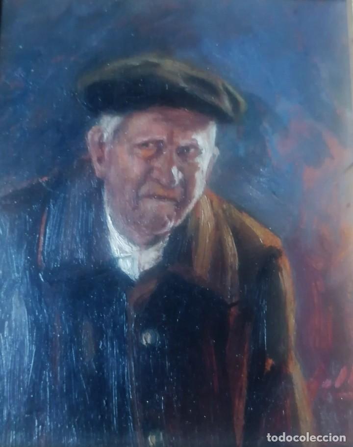 Arte: dos retratos al oleo sobre tabla. Jesús Gallego Rodríguez. Valladolid. Enmarcados. - Foto 3 - 257857485