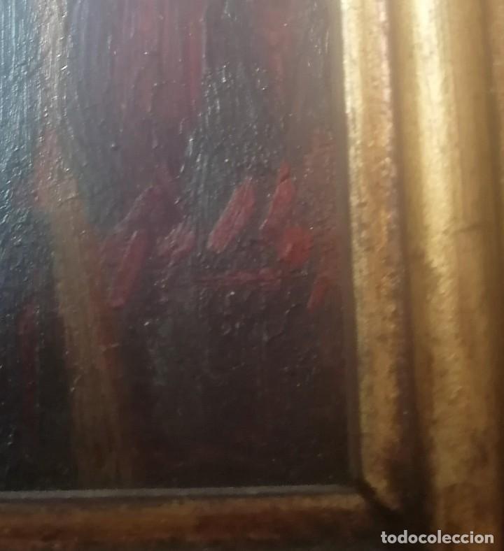Arte: dos retratos al oleo sobre tabla. Jesús Gallego Rodríguez. Valladolid. Enmarcados. - Foto 5 - 257857485