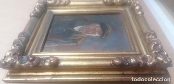 Arte: dos retratos al oleo sobre tabla. Jesús Gallego Rodríguez. Valladolid. Enmarcados. - Foto 7 - 257857485