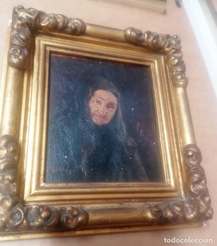Arte: dos retratos al oleo sobre tabla. Jesús Gallego Rodríguez. Valladolid. Enmarcados. - Foto 8 - 257857485