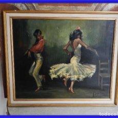 Arte: CUADRO OLEO SOBRE LIENZO BAILAORES FLAMENCOS. Lote 257944950