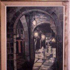 Arte: ZALAYA. VISTA DE CALLE.. OLEO SOBRE LIENZO. GRANDES DIMENSIONES. CON MARCO. 106X87CM. Lote 257959085