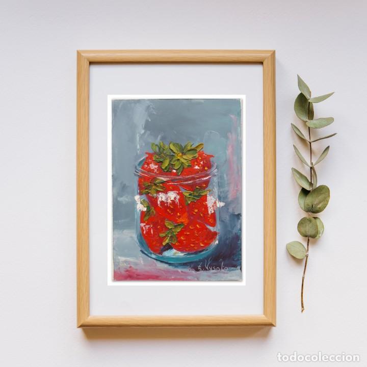 Arte: Cuadro al Oleo Sobre Cartón - Fresa - Bodegón con Frutas - Firmado - 17,5 x 12,5 cm. - Foto 11 - 258036555