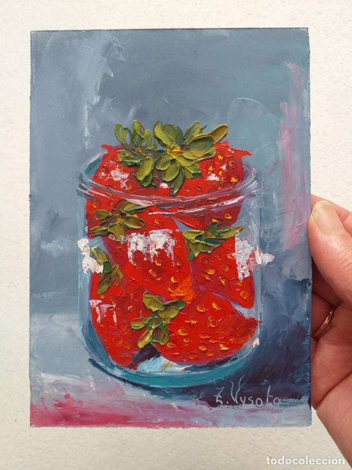 Arte: Cuadro al Oleo Sobre Cartón - Fresa - Bodegón con Frutas - Firmado - 17,5 x 12,5 cm. - Foto 2 - 258036555