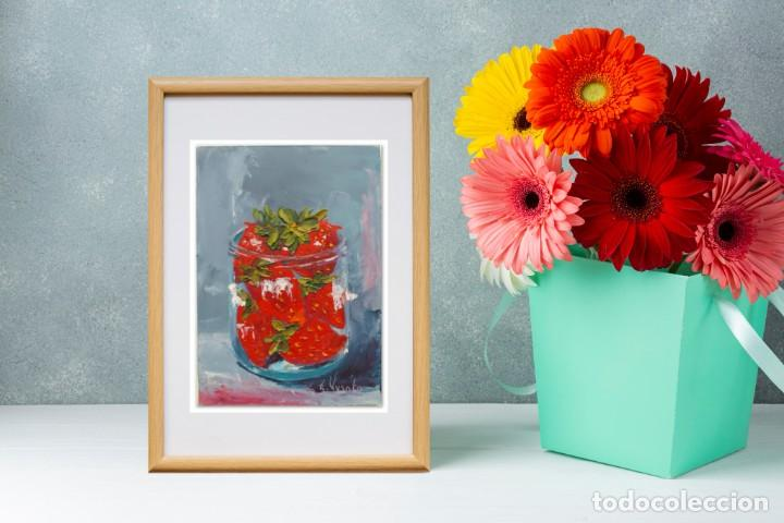 Arte: Cuadro al Oleo Sobre Cartón - Fresa - Bodegón con Frutas - Firmado - 17,5 x 12,5 cm. - Foto 3 - 258036555
