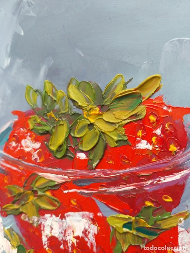 Arte: Cuadro al Oleo Sobre Cartón - Fresa - Bodegón con Frutas - Firmado - 17,5 x 12,5 cm. - Foto 5 - 258036555