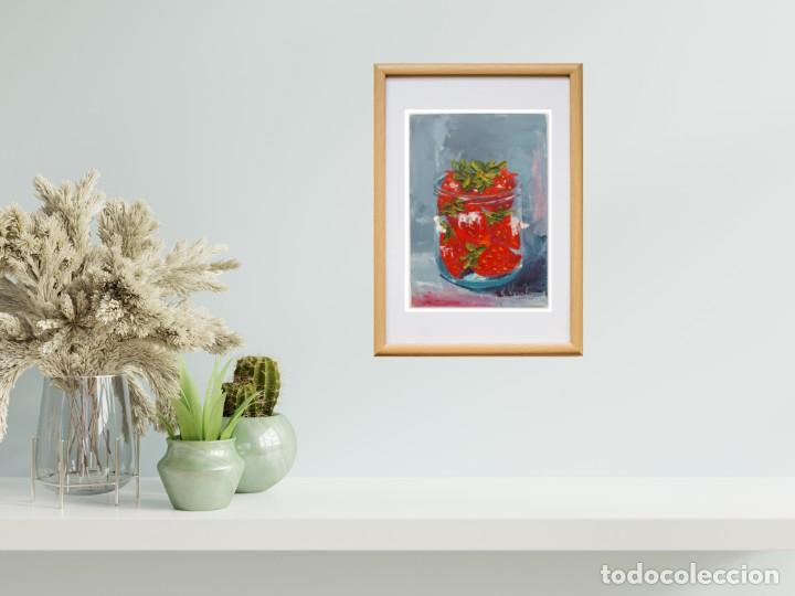 Arte: Cuadro al Oleo Sobre Cartón - Fresa - Bodegón con Frutas - Firmado - 17,5 x 12,5 cm. - Foto 6 - 258036555