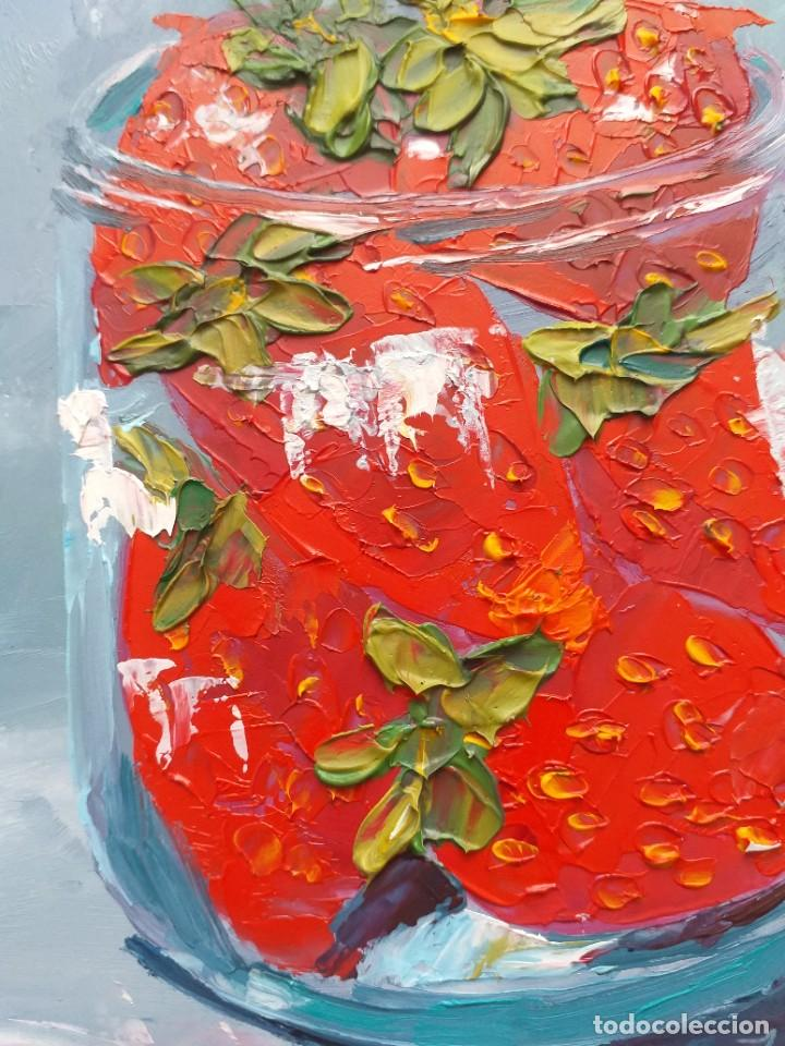 Arte: Cuadro al Oleo Sobre Cartón - Fresa - Bodegón con Frutas - Firmado - 17,5 x 12,5 cm. - Foto 7 - 258036555