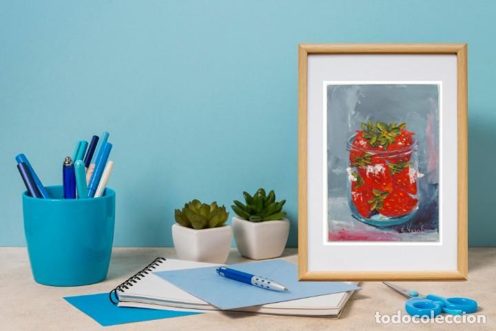Arte: Cuadro al Oleo Sobre Cartón - Fresa - Bodegón con Frutas - Firmado - 17,5 x 12,5 cm. - Foto 8 - 258036555