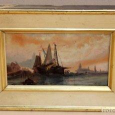 Arte: ESCUELA ITALIANA DEL ULTIMO TERCIO DEL SIGLO XIX. OLEO SOBRE TABLA. VISTA PORTUARIA. Lote 258085605