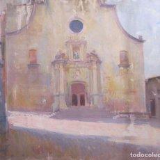Arte: PINTURA IMPRESIONISTA. ESGLÉSIA PARROQUIAL DE SANT ESTEVE, TORDERA. OLEO SOBRE TELA. 45X54 CM. Lote 258149970
