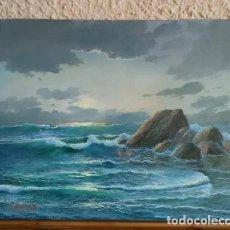 Arte: PINTURA ÓLEO AMANECER EN EL MAR DE J. BASTIDA, MARINA SOBRE LIENZO; OCEANO ESPECTACULAR. Lote 258236250