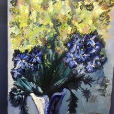"Arte: ""FLORES AMARILLAS Y AZULES"" ÓLEO SOBRE LIENZO. MERCEDES GOMEZ-PABLOS (PALMA MALLORCA 1940). Lote 258248940"
