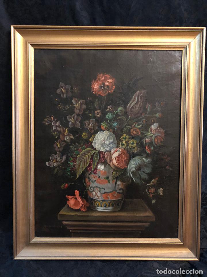 ÓLEO SOBRE LIENZO FLORERO FIRMADO R.L VALENZUELA (Arte - Pintura - Pintura al Óleo Moderna sin fecha definida)