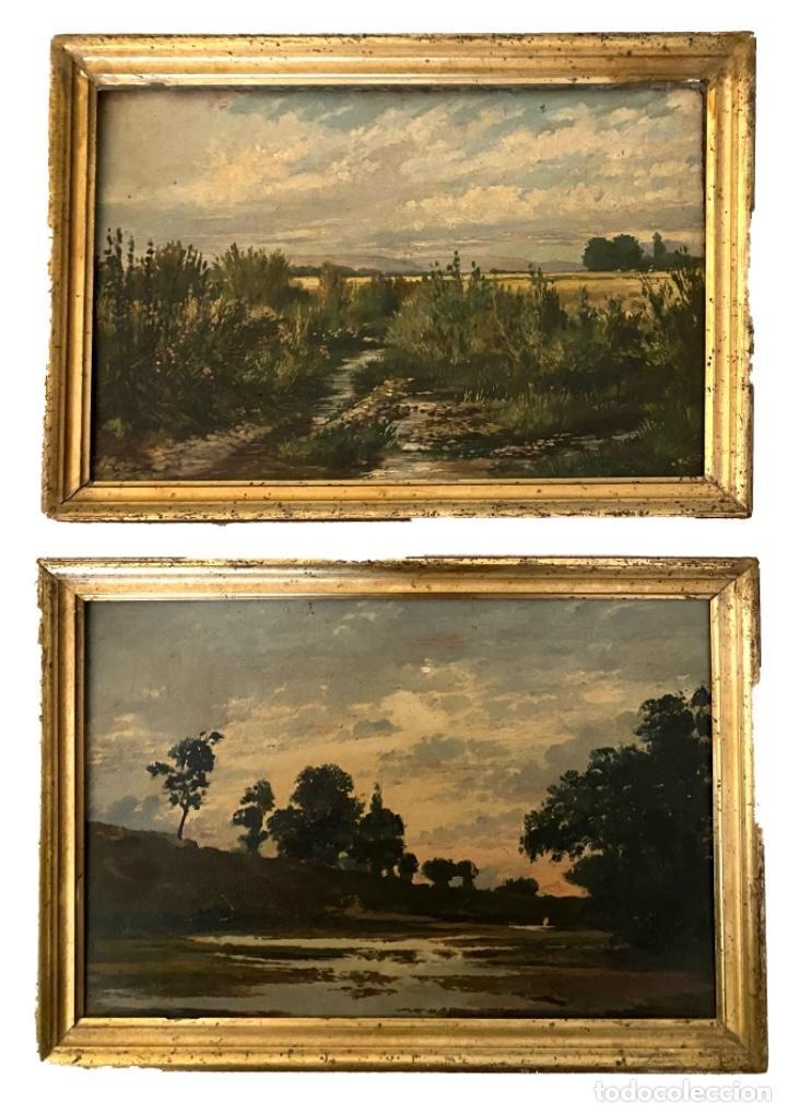 MARAVILLOSOS PAISAJES DEL SIGLO XIX, ÓLEO SOBRE TABLA, MARCOS ANTIGUOS, 35 X 24 (Arte - Pintura - Pintura al Óleo Moderna siglo XIX)
