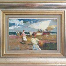 Arte: LUIS GINER BUENO (1935-2000) - RECOJIENDO LA PESCA.OLEO/TELA.FIRMADO.. Lote 258639870