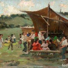 Arte: MIGUEL PRADILLA GONZALEZ (1884 - 1965) OLEO SOBRE TABLA. FIESTA CAMPESTRE. Lote 259840030