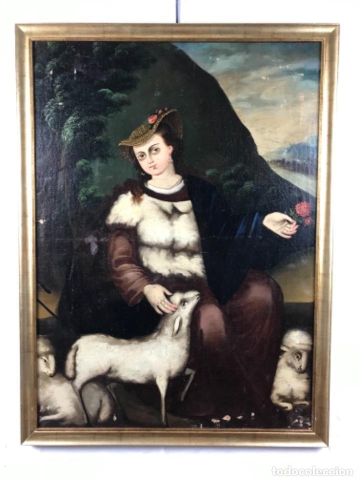 DIVINA PASTORA ÓLEO SOBRE LIENZO SG XVIII (Arte - Pintura - Pintura al Óleo Antigua siglo XVIII)