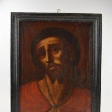 Arte: ECCE HOMO, JESÚS CON CORONA DE ESPINAS, PINTURA AL ÓLEO, FINALES DEL SIGLO XVIII, MARCO DE ÉPOCA.. Lote 259889590