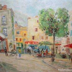 Arte: BERNAT SANJUAN TARRÉ (BARCELONA, 1915 – DEIÀ, 1979) OLEO SOBRE LIENZO D LOS AÑOS 50. CALLE COMERCIAL. Lote 259969510