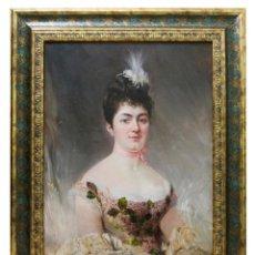 Arte: JOSÉ VILLEGAS Y CORDERO. (1844-1921). ÓLEO SOBRE LIENZO. RETRATO DE DAMA CON TOCADO BLANCO.. Lote 260035670