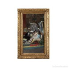 Arte: EUGENIO LUCAS VILLAAMIL. (1858-1919). ÓLEO SOBRE LIENZO. LA BAILARINA Y EL CABALLERO.. Lote 260035700