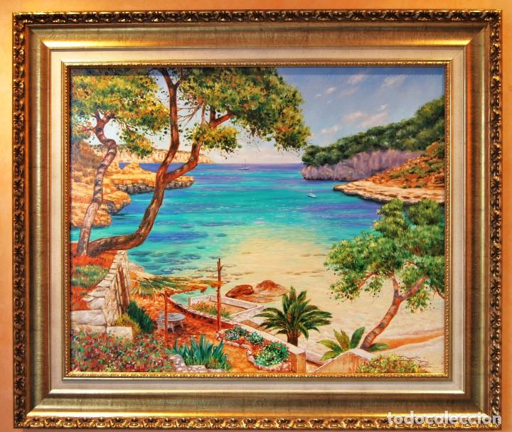 DAVID PLANET - BARCELONA 1.977 - ÓLEO - ENMARCADO CALA DE MALLORCA (Arte - Pintura - Pintura al Óleo Moderna sin fecha definida)