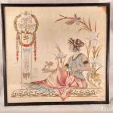 Arte: SEDA BORDADA EN HILO E HILO DE ORO Y PINTADA AL ÓLEO. PERIODO MODERNISTA. S. XIX. Lote 260354910