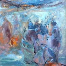 Arte: TONI PEREZ (VILANOVA I LA GELTRÚ, SIGLO XX) OLEO SOBRE TELA. PERSONAJES. Lote 260487395