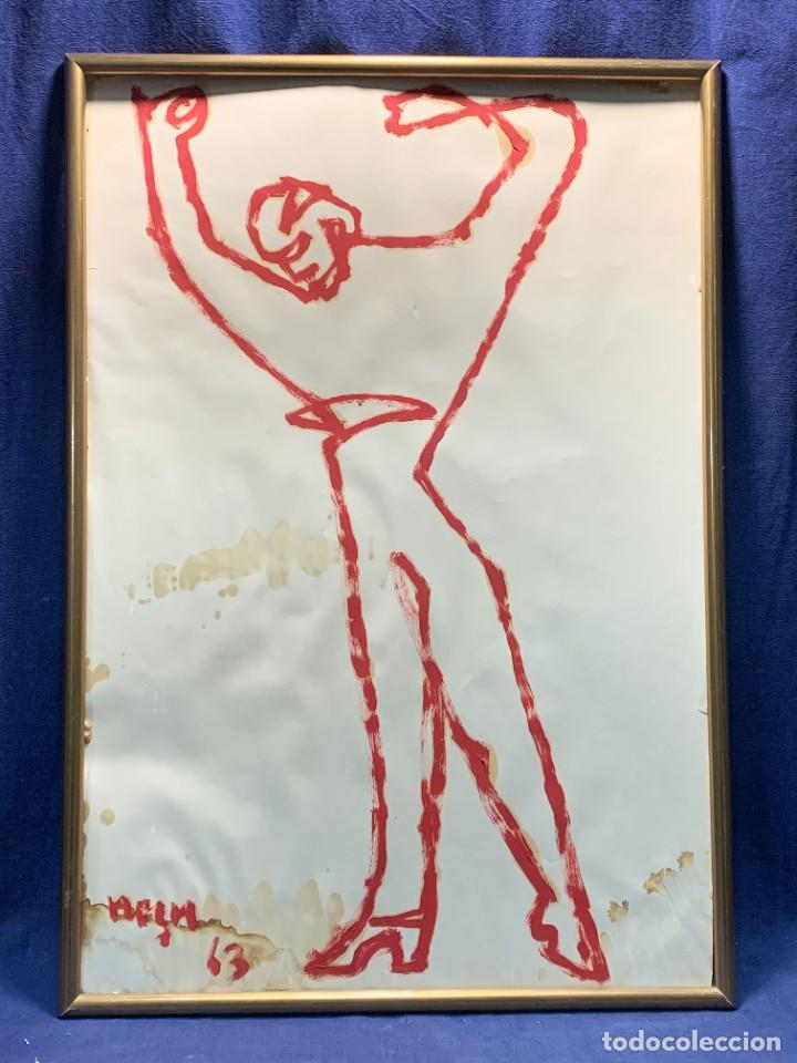 DIBUJO OLEO SOBRE PAPEL UN TRAZO ANTONIO EL BAILARIN JEAN NEGULESCO FIRMA NEGU 1963 66X46CMS (Arte - Pintura - Pintura al Óleo Contemporánea )