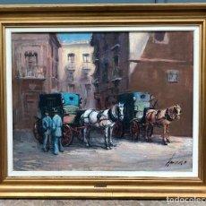 Arte: JOSÉ FRANCISCO ARNEDO LINAROS, CALLE CON CARRUAJES, PINTURA AL ÓLEO SOBRE TELA, FIRMADO, CON MARCO.. Lote 260651325