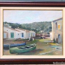 Arte: JOSEP MARIA PRIM, BARCAS Y PUEBLO COSTERO, PINTURA AL ÓLEO SOBRE TELA, FIRMADO, CON MARCO. 74X59,5CM. Lote 260652570