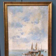 Arte: MARINA, BARCAS Y MAR, ESCUELA CATALANA, 1892, PINTURA AL ÓLEO SOBRE TELA, FIRMADO F. DE P. FERRER.. Lote 260654515