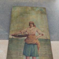 Arte: ÓLEO SOBRE TABLA XIX - MUJER CON PESCADO - FIRMADO -. Lote 121611147