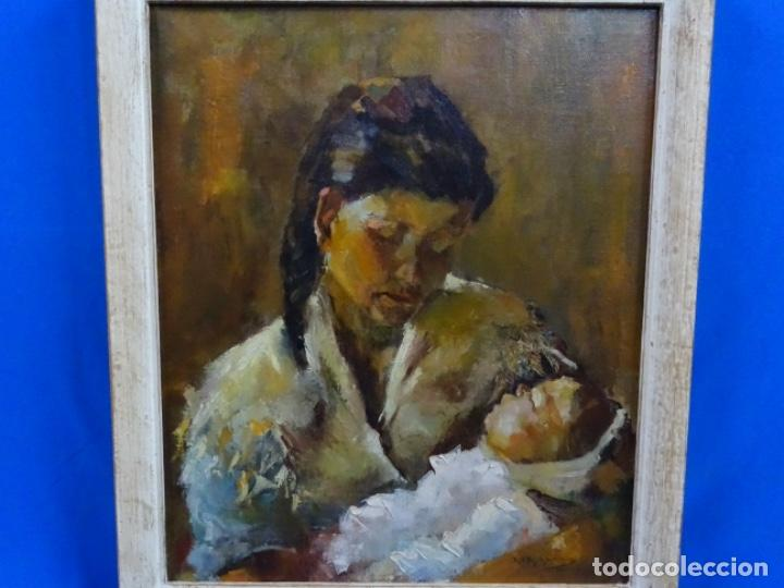 EXCELENTE ÓLEO EN TELA DE ROSA MARIA PUJOL AVELLANA (BCN 1945). MATERNIDAD 1986. (Arte - Pintura - Pintura al Óleo Contemporánea )