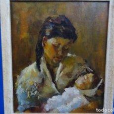 Arte: EXCELENTE ÓLEO EN TELA DE ROSA MARIA PUJOL AVELLANA (BCN 1945). MATERNIDAD 1986.. Lote 261139810