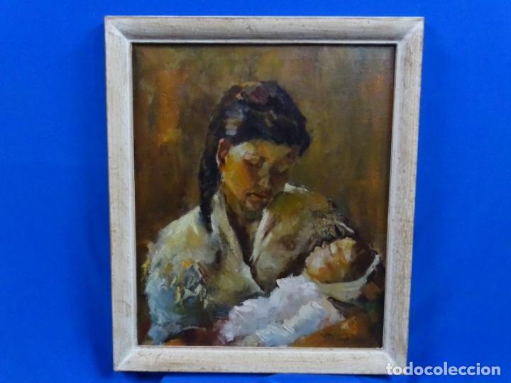Arte: EXCELENTE ÓLEO EN TELA DE ROSA MARIA PUJOL AVELLANA (BCN 1945). MATERNIDAD 1986. - Foto 2 - 261139810