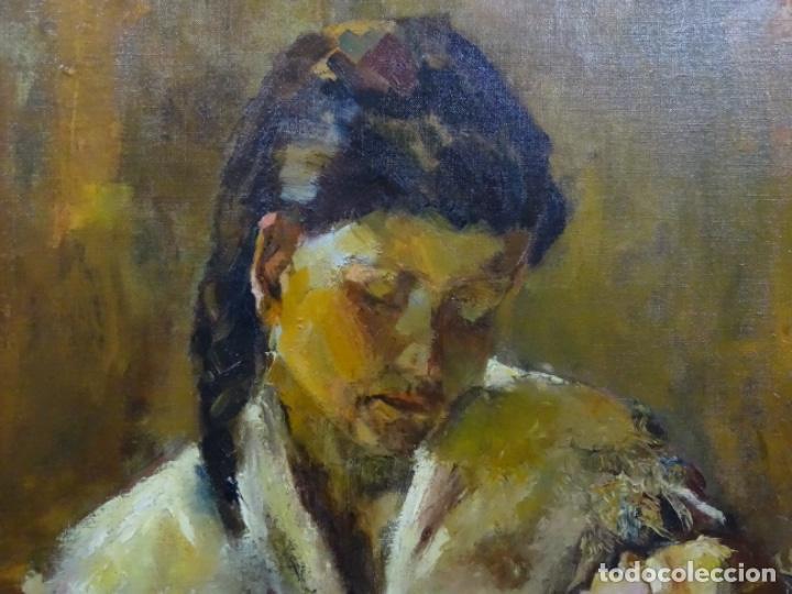 Arte: EXCELENTE ÓLEO EN TELA DE ROSA MARIA PUJOL AVELLANA (BCN 1945). MATERNIDAD 1986. - Foto 3 - 261139810