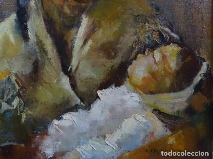 Arte: EXCELENTE ÓLEO EN TELA DE ROSA MARIA PUJOL AVELLANA (BCN 1945). MATERNIDAD 1986. - Foto 4 - 261139810