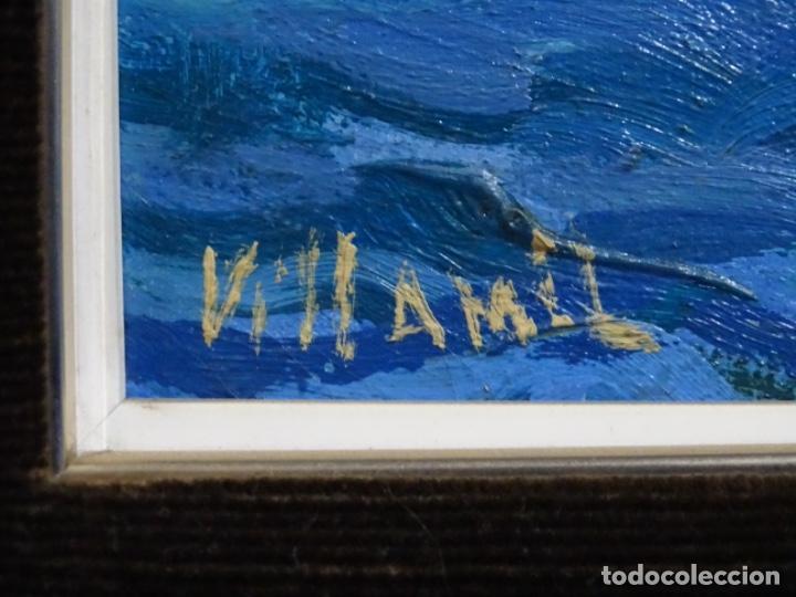 Arte: ÓLEO SOBRE TELA FIRMADO VILLAMIL. BUEN TRAZO Y GRAN COLORIDO. ESCUELA CATALANA. - Foto 14 - 261141285