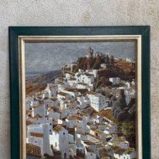 Arte: OLEO LIENZO FIRMA ARNALDO PUEBLO BLANCO MALAGA CASARES AÑOS 60 100X82CMS. Lote 261152050