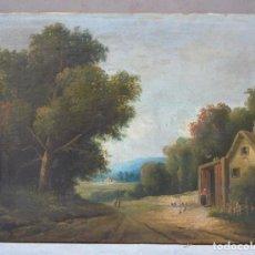 Arte: PAISAJE CON CASA Y ÁRBOLES, SIGLO XIX, PINTURA AL ÓLEO SOBRE TELA, SIN FIRMAR. 64X48CM. Lote 261194665