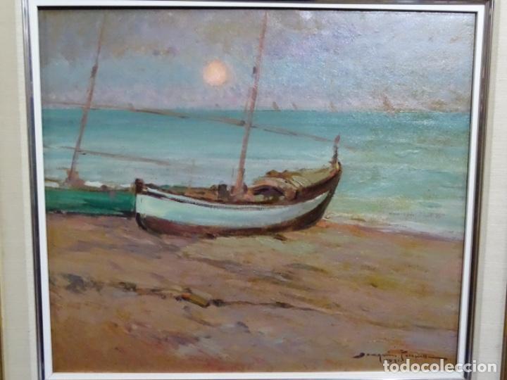 ÓLEO EN TABLEX DE JOAQUIM TERRUELLA MATILLA 1921. INFLUENCIA DE SU MAESTRO SANTIAGO RUSIÑOL. (Arte - Pintura - Pintura al Óleo Contemporánea )