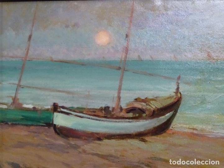 Arte: ÓLEO EN TABLEX DE JOAQUIM TERRUELLA MATILLA 1921. INFLUENCIA DE SU MAESTRO SANTIAGO RUSIÑOL. - Foto 3 - 261289530