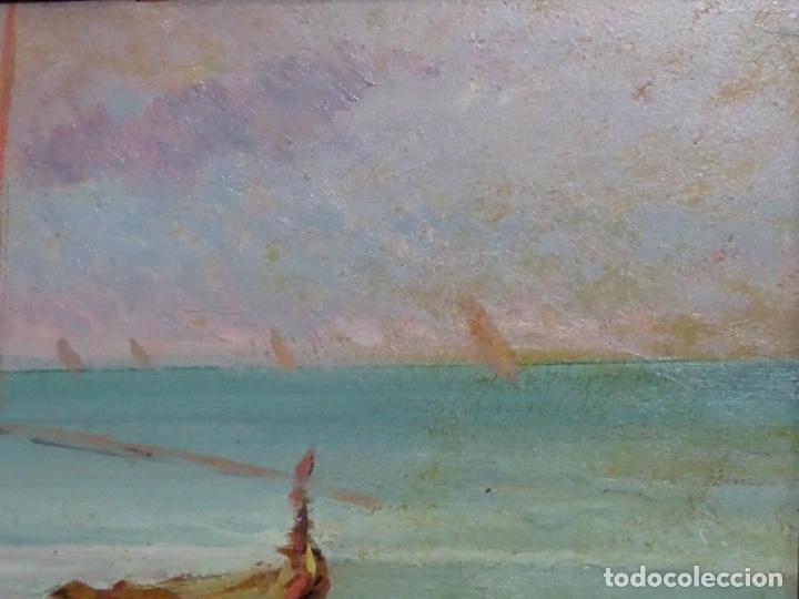 Arte: ÓLEO EN TABLEX DE JOAQUIM TERRUELLA MATILLA 1921. INFLUENCIA DE SU MAESTRO SANTIAGO RUSIÑOL. - Foto 4 - 261289530